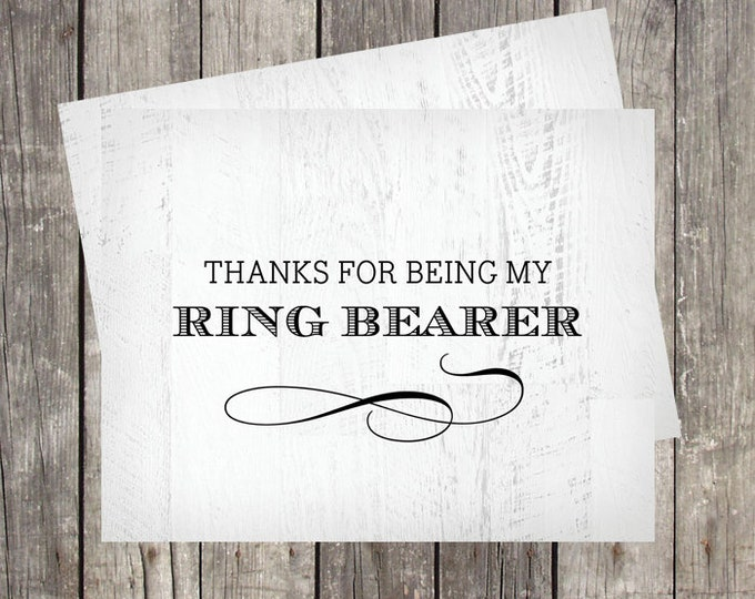 Thank You Card for Ring Bearer | Wedding Party Thank You Card | Rustic Wood Background | PRINTED