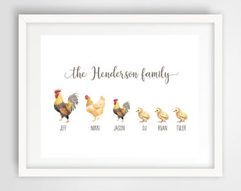 Chicken Family Wall Print | 8 x 10 Personalized Family Art | Chicken Family Home Decor | Housewarming Gift | Cute Chickens Art | PRINTED