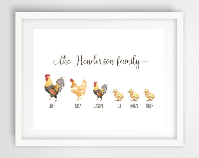 Chicken Family Wall Print   8 x 10 Personalized Family Art   Chicken Family Home Decor   Housewarming Gift   Cute Chickens Art   PRINTED