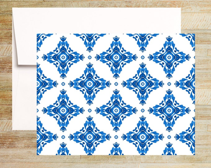 Venetian Blue Tile Note Cards   Set of 4   Unique Stationery Gifts   Watercolor Tile Pattern 002   PRINTED
