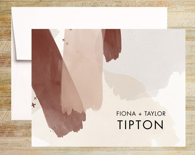 Modern Watercolor Personalized Stationery  | Set of 10 | Taupe and Burgundy | PRINTED