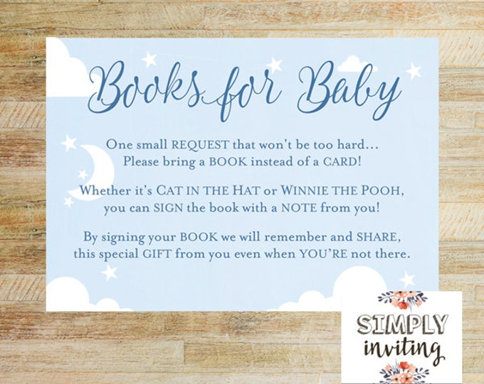 Books for Baby Poem Card   Baby Shower Printables   Bring a Book Instead of a Card   INSTANT DOWNLOAD