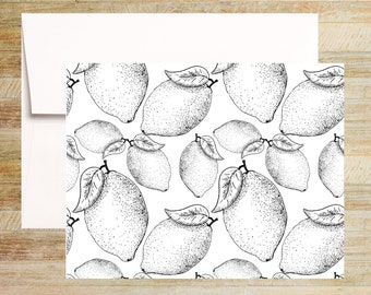 Black and White Lemons Note Card Set | Set of 4 | Unique Stationery Gifts | Citrus Fruit Illustrations | PRINTED