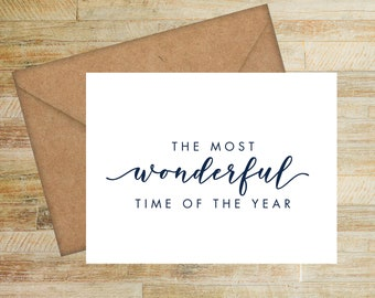 Wonderful Time of the Year Greeting Cards | Set of 10 | Personalized Holiday Cards | PRINTED