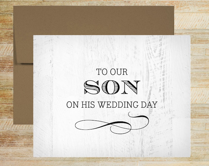 To Our Son on His Wedding Day | Wedding Day Card for Groom | Rustic Wood Background | PRINTED