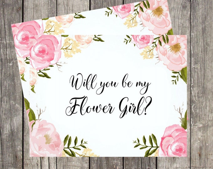 Will You Be My Flower Girl Card   Card for Flower Girl   Flower Girl Proposal Card   PRINTED