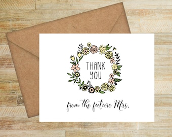 Future Mrs. Floral Bridal Shower Thank You Cards | Set of 10 |  PRINTED