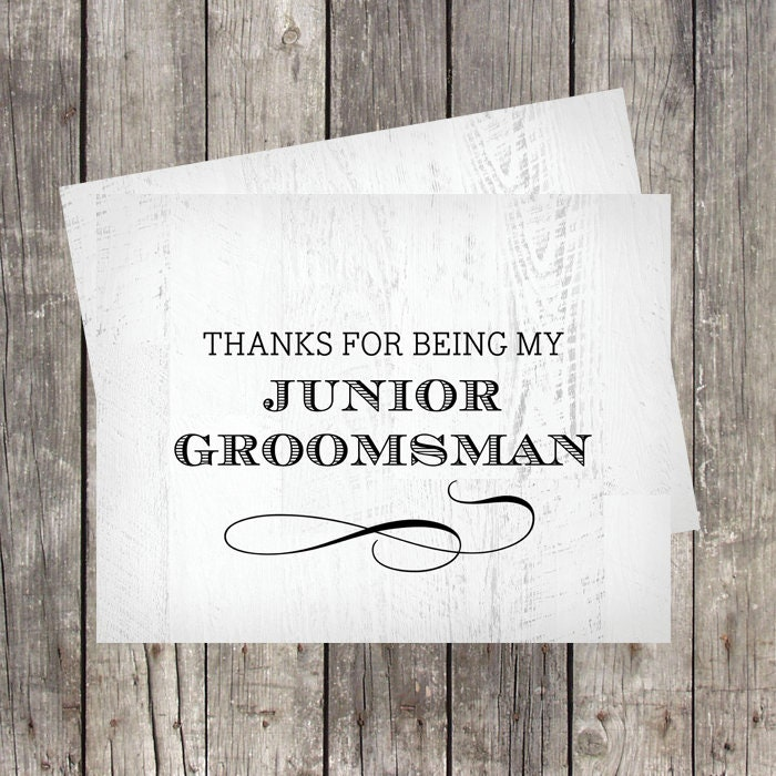 thank you card for junior groomsman  wedding party thank
