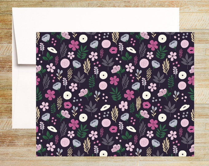 Boho Floral Note Cards | Set of 4 | Unique Stationery Gifts | PRINTED