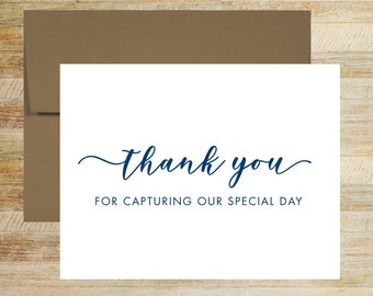 Thank You for Capturing Our Special Day | Wedding Photographer Card | Wedding Day Card for Vendor | PRINTED