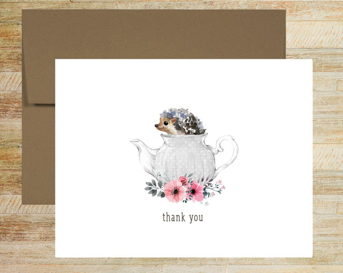Hedgehog Teapot Thank You Note Cards   Set of 5   Cute Floral Stationery Gifts   PRINTED