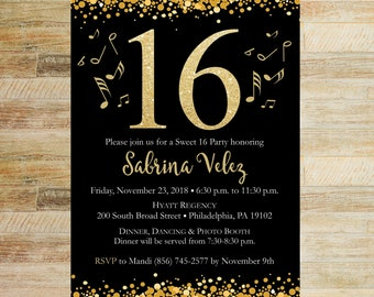 Gold Confetti Sweet 16 Invitation | PRINTABLE FILE | Glitter Black and Gold Birthday Invites | Music Notes Teen Party Invitation