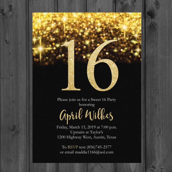 sparkle gold sweet 16 invitation black and gold sweet 16 etsy