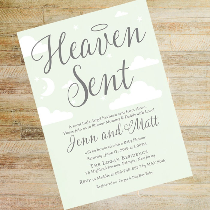 Heaven Sent Baby Shower Invitations Set Of 10 Mint And Gray