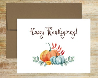 Happy Thanksgiving Personalized Greeting Cards | Set of 10 | Custom Copy Holiday Cards | PRINTED