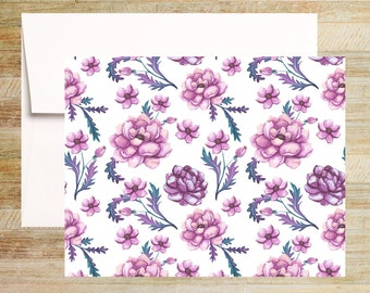 Watercolor Floral Note Cards | Set of 4 | Unique Stationery Gifts | Pink and Purple Peonies | PRINTED
