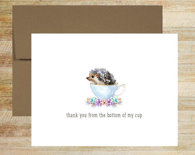 Hedgehog Teacup Thank You Note Cards   Set of 5   Cute Floral Stationery Gifts   PRINTED