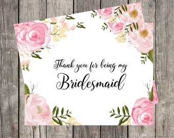 Thank You Card for Bridesmaid | Pink Floral | Bridal Party Wedding Thank You Card | PRINTED