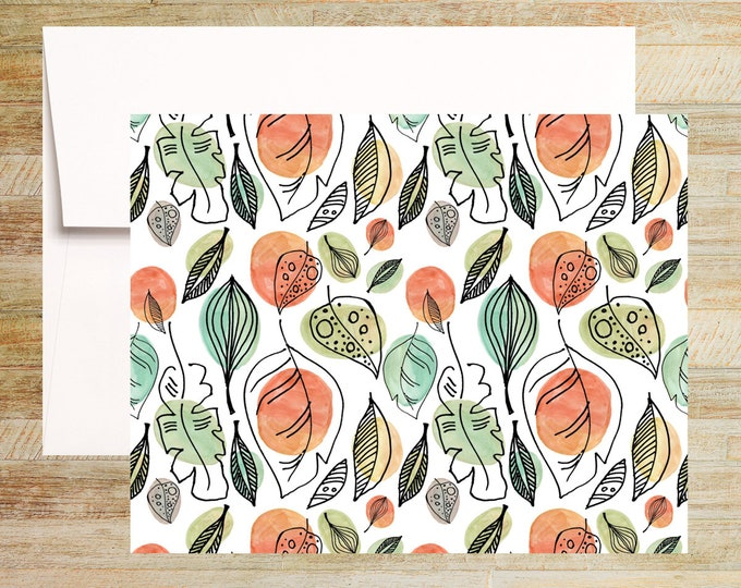 Watercolor Autumn Florals Note Cards | Set of 4 | Unique Stationery Gifts | Fall Leaves Pattern Cards | PRINTED