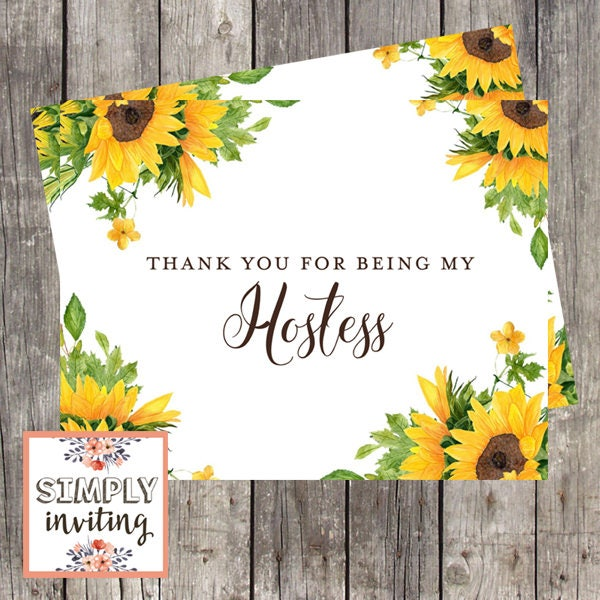 Wedding Hostess Sunflowers Thank You Card | Thank You for ...