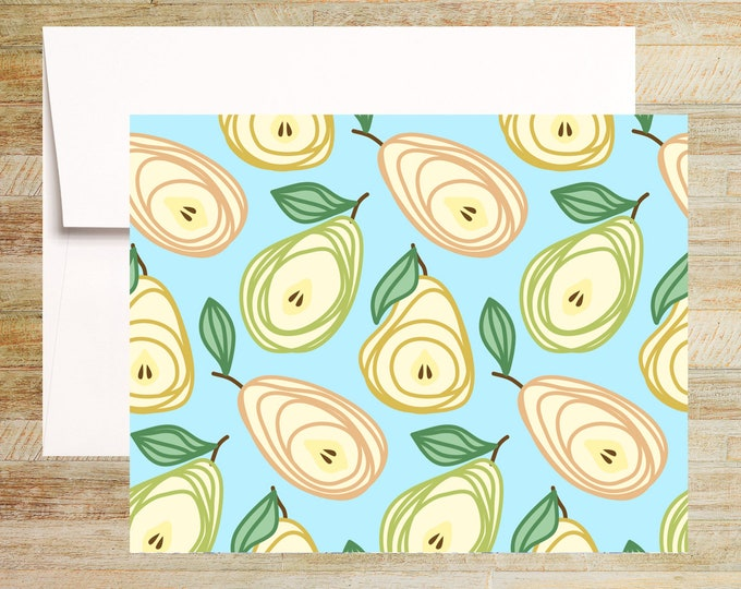 Doodle Fruit Pattern Note Card Set | Set of 4 | Unique Stationery Gifts | PRINTED