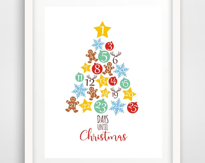 Christmas Advent Calendar Print | 8 x 10 and 5 x 7 | DIY Holiday Decoration| Holiday Printable | Christmas Print | INSTANT DOWNLOAD