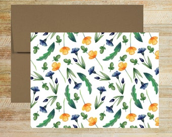 Floral Watercolor Note Cards | Set of 5 | Unique Stationery Gifts | Patterned Flowers Note Cards | PRINTED