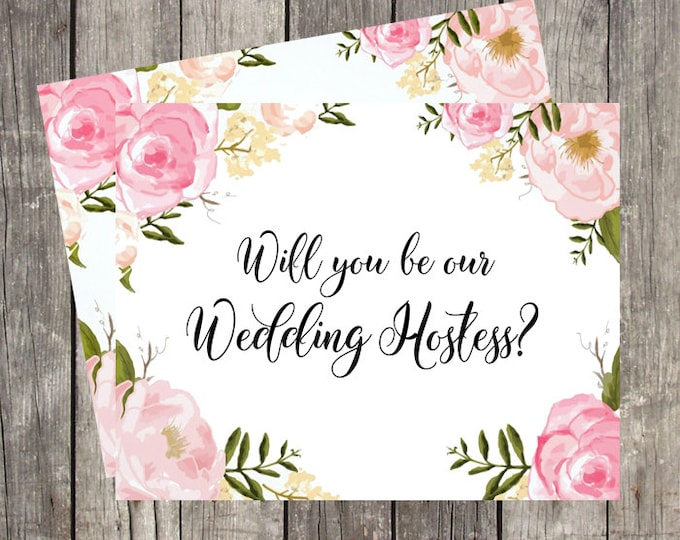 Will You Be My Hostess   Card For Wedding Hostess   Hostess Proposal Card   Hostess Request Card   Printed Floral Wedding Hostess Card