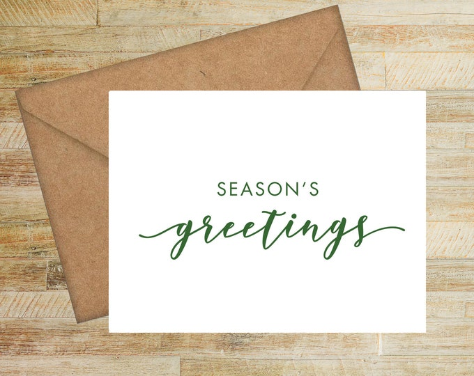 Seasons Greetings Personalized Holiday Cards | Set of 10 | Merry Christmas | Happy Holidays | PRINTED