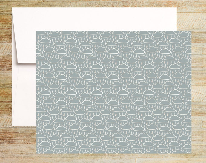 Rainy Days Note Cards | Set of 3 | Unique Stationery Gifts | Shades of Gray | Clouds and Rain Pattern | PRINTED