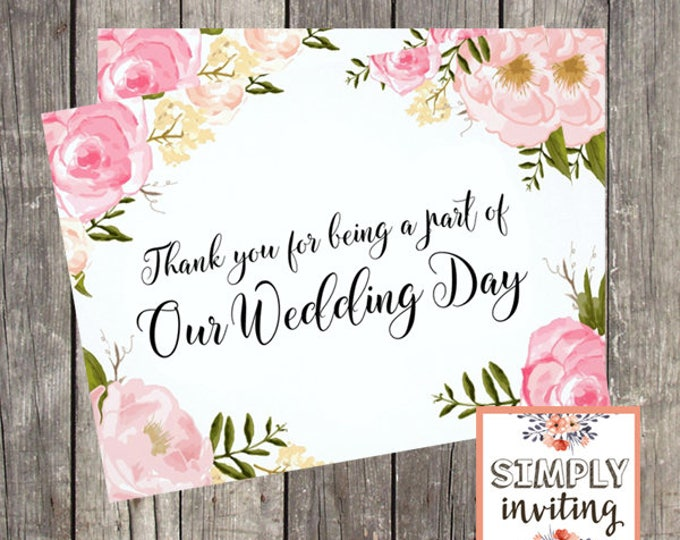 Thank You Card for Wedding Day | Pink Floral | Thank You Card for Friend | Card for Wedding Vendor | PRINTED