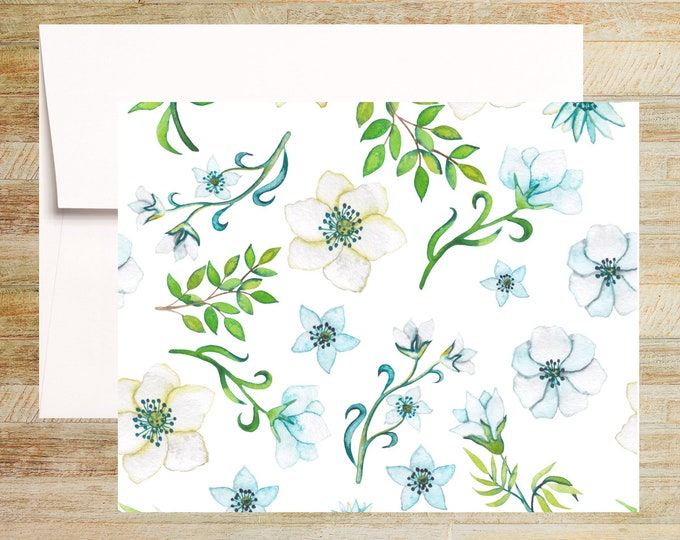 Watercolor Floral Note Cards | Set of 4 | Unique Stationery Gifts | White and Blue Peonies | PRINTED