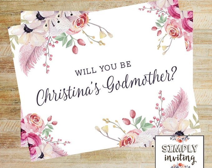 Godmother Proposal Card | Will You Be My Godparent Card | Floral Baptism Card | PRINTED