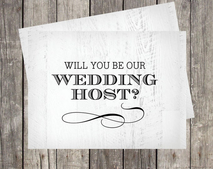 Wedding Host Proposal Card   Will You Be Our Wedding Host   Rustic Wood Background   Bridal Party Ask Card   PRINTED