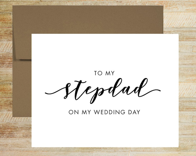 To My Stepdad On My Wedding Day Card | Card For Stepdad of the Bride | Stepdad of the Groom | PRINTED