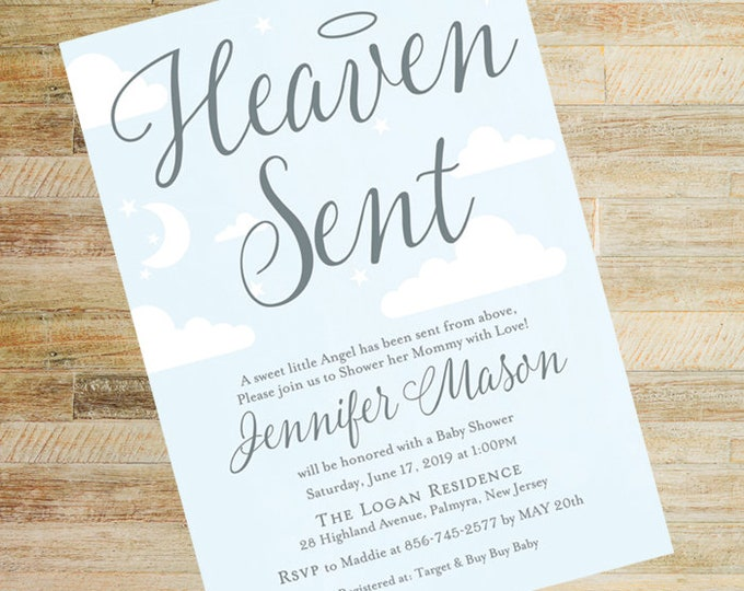 Heaven Sent Sky and Silver Baby Shower Invitations   Books for Baby and Diaper Raffle Cards   Set of 10   PRINTED