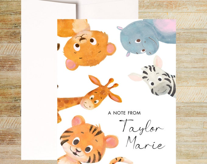 Baby Jungle Animals Personalized Stationery | Set of 10 | Children's Thank You Cards| PRINTED