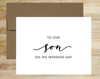 To Our Son on His Wedding Day Card | Card from Parents of the Groom | PRINTED