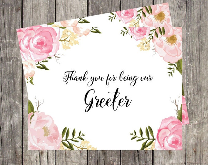 Thank You Card for Wedding Greeter | Pink Floral | Bridal Party Thank You Card | PRINTED
