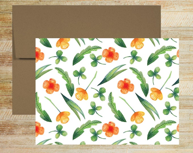 Watercolor Floral Note Cards   Set of 5   Unique Stationery Gifts   Tiny Flowers and Clover Pattern   PRINTED