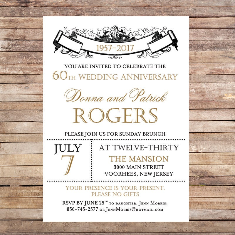 Wedding Anniversary Invitation Vintage Wedding Classic