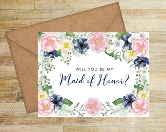 Will You Be My Maid of Honor Card | Pink and Navy Floral | Maid of Honor Proposal Card | Bridal Party Box Card | PRINTED
