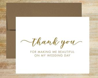 Wedding Stylist Thank You Card | Card For Wedding Vendor | Makeup Artist Thank You | PRINTED