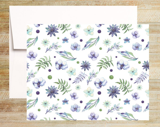 Watercolor Floral Note Cards | Set of 4 | Unique Stationery Gifts | Purple Peonies | PRINTED
