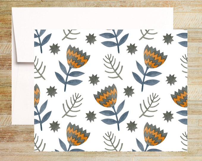 Watercolor Floral Note Cards | Set of 4 | Unique Stationery Gifts | Hygge Flowers + Leaves Note Cards | PRINTED