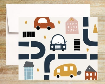 Cars and Travel Note Card Set for Kids | Set of 4 | Fun Children's Stationery | PRINTED