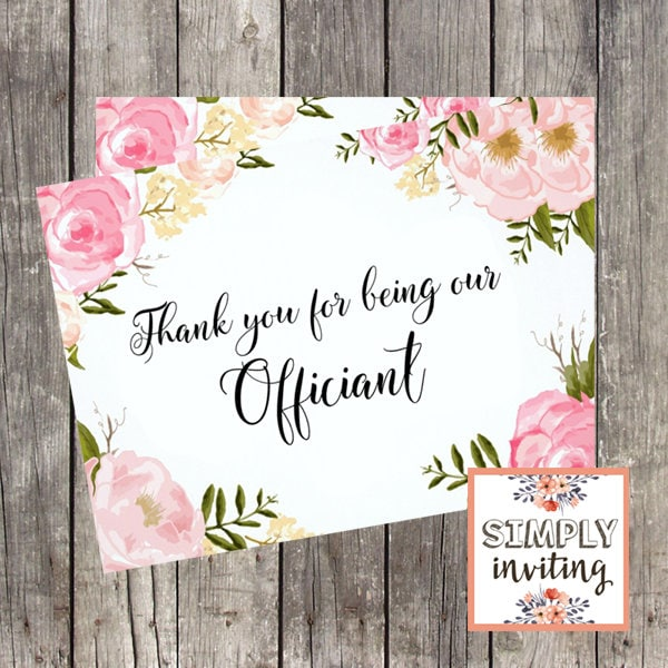 Wedding Officiant Thank You Card Thank You For Marrying Us