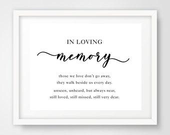In Loving Memory Poem Wedding Sign | 8 x 10 | Wedding Printables | INSTANT DOWNLOAD