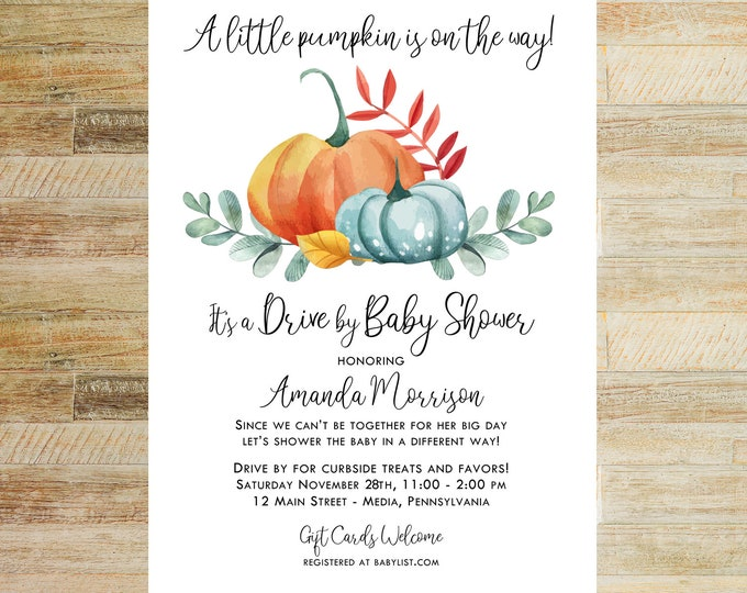 Little Pumpkin Baby Shower Invitations   Drive By Shower   Set of 10   Books for Baby and Thank You Cards   PRINTED