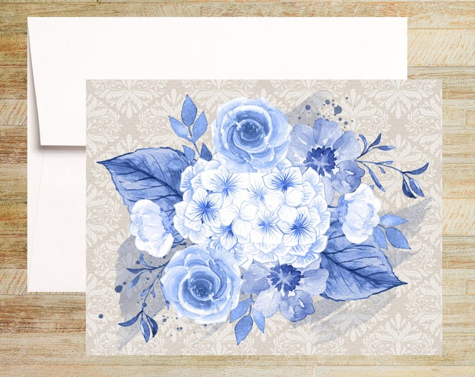 Blue Floral Note Cards   Set of 3   Unique Stationery Gifts   Roses and Damask Pattern   PRINTED